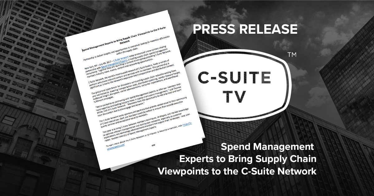 Spend Management Experts to Bring Supply Chain Viewpoints to the C-Suite Network